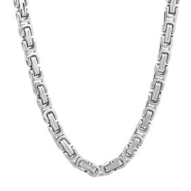 Men's Stainless Steel Square Byzantine Chain and Bracelet Set