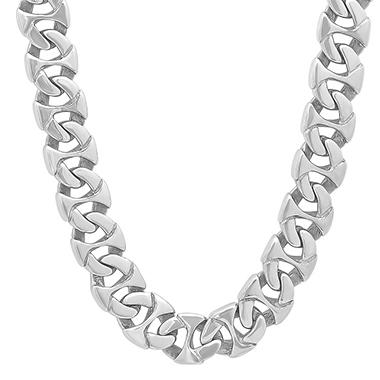 Men's Stainless Steel Oval Curb Chain and Bracelet Set