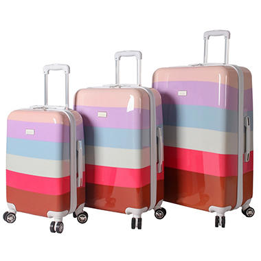 Nicole Miller Hardside Rainbow Stripe 3-Piece Luggage Set