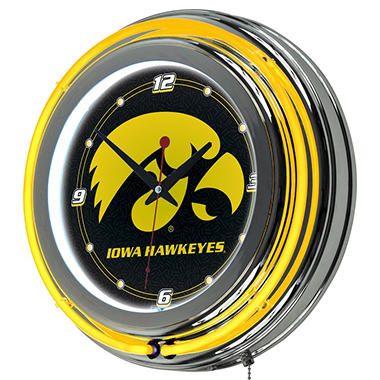 University of Iowa Neon Wall-Mounted Clock
