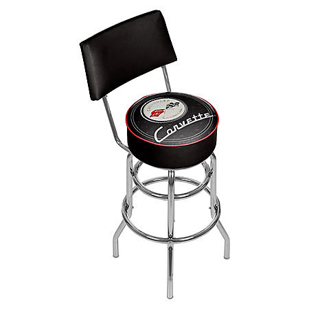 Corvette C1 Padded Bar Stool with Back (Assorted Colors)