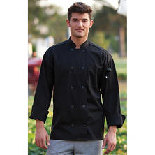Chef Coat, Black  (MD, Fits 40-42 Chest)