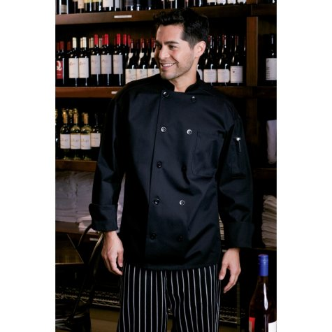 Mesh Back Chef Coat, Black (X-Small - 4XL)