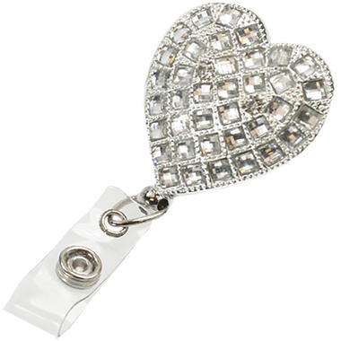 Crystal Bling Heart Badge Reel