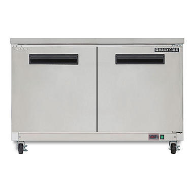 Maxx Cold X Series Double Door Undercounter Commercial Refrigerator In  Stainless Steel (12 Cu