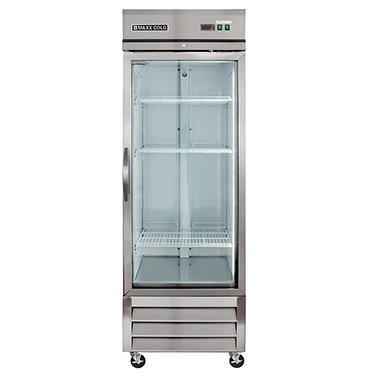 maxx cold x series single glass door commercial refrigerator stainless steel 23 cu - Refridgerator Glass Door