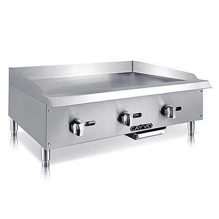 "Cayvo Stainless Steel Gas Griddle 36"" (Choose Liquid Propane or Natural Gas)"