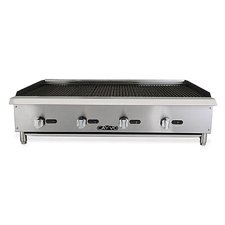 "Cayvo Gas Radiant Charbroiler with Stainless Steel Countertop, 48"" (Choose Natural Gas or Liquid Propane)"