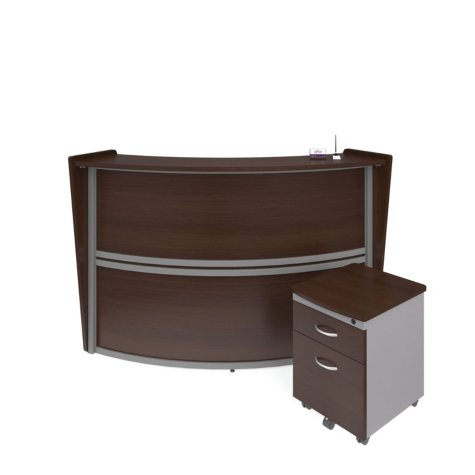 Marque Single-Unit Reception Station with Locking Drawer Pedestal, Select Color