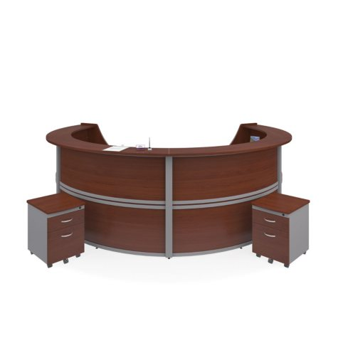 Marque 4-Unit Reception Station with 2 Locking Drawer Pedestals, Select Color