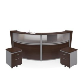 Marque Double-Unit Reception Station Plexi-Panel Front and  2 Locking Drawer Pedestals, Select Color