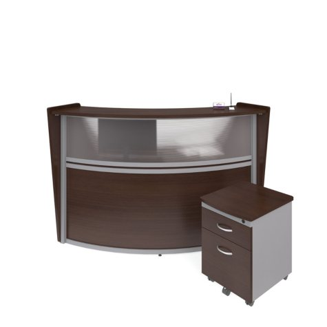 Marque Single-Unit Reception Station with Plexi-Panel Front and Locking Drawer Pedestal, Select Color