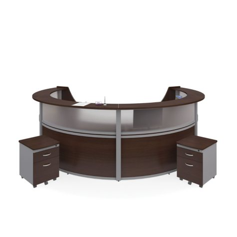 Marque 4-Unit Reception Station with Plexi-Panel Front and 2 Locking Drawer Pedestals, Select Color