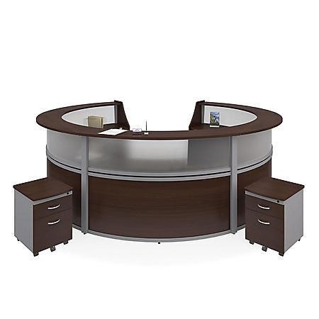 Marque 5-Unit Reception Station with Plexi-Front and 2 Locking Drawer Pedestals, Select Color