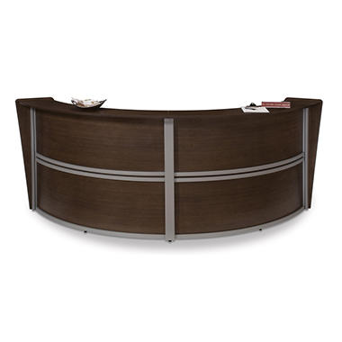 Double Reception Desk Wood Front - Walnut