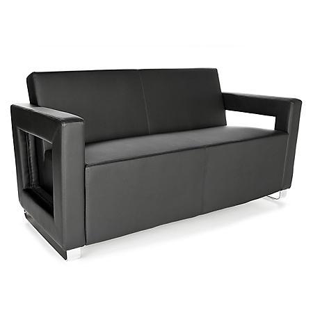 OFM Distinct Series, Polyurethane Soft Seating Lounge Sofa with Chrome Base, Model 832, Choose a Color