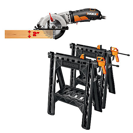 "WORX 4-1/2"" WorxSaw Compact Circular Saw & Clamping Sawhorses With Bar Clamps"