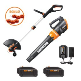 Worx WG925 40V Command Feed String Trimmer and Turbine Leaf Blower Combo (Includes 6 Spools)