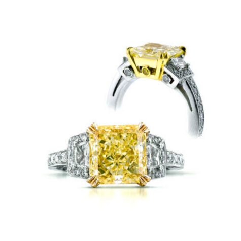 4.08 CT. T.W. Fancy Yellow Radiant-Cut Diamond Ring (Fancy Yellow, SI1)