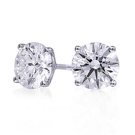 3.03 ct. t.w. Premier Diamond Collection 4-Prong Round Diamond Earrings in 18k White Gold (H-I, SI1-SI2)