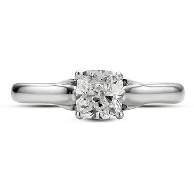 0.72 ct. Premier Diamond Collection Cushion Diamond Solitaire Ring in 14k White Gold (G, VS2)