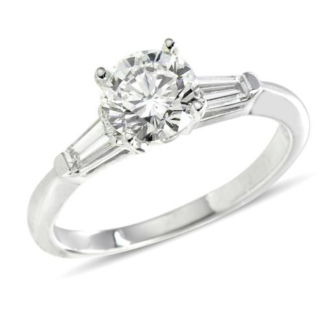 1.50 ct. t.w. Premier Diamond Collection Round + 2 Baguettes  Diamond Ring in 14k White Gold (I, SI1)