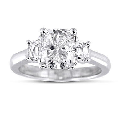 2.36 ct. t.w. Premier Diamond Collection Cushion + 2 Trapezoids  Diamond Ring in Platinum (I, SI1)
