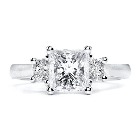 2.45 ct. t.w. Premier Diamond Collection Princess + 2 Trapezoids Diamond Ring in Platinum (I, SI2)