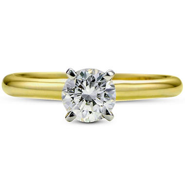 1.01 ct. Premier Diamond Collection Round Diamond Solitaire Ring in 14k Yellow and White Gold (G, SI2)
