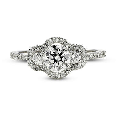1.28 ct. t.w. Premier Diamond Collection Round 3-stone & Pave' Diamond Ring in 18k White Gold (D, SI1)