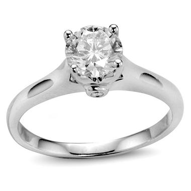 1.11 ct. t.w. Premier Diamond Collection Round Diamond Solitaire Ring + 2 Accent Diamonds in 14k White Gold (H, I1)