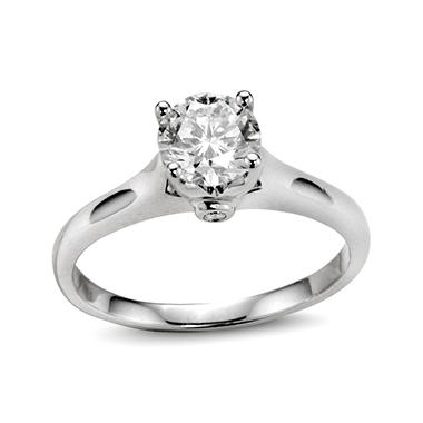 0.88 ct. t.w. Premier Diamond Collection Round Diamond Solitaire Ring + 2 Accent Diamonds in 14k White Gold (I, SI2)