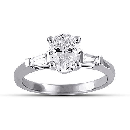 1.71 ct. t.w. Premier Diamond Collection Oval + 2 Baguettes Diamond Ring in Platinum (H, VS2)