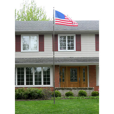 20' Telescoping Flagpole - Silver