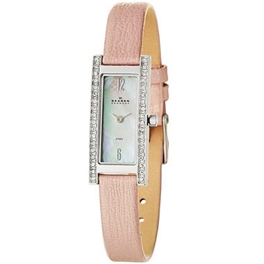 Skagen Women's Glitz Stainless Steel and Leather Quartz Watch