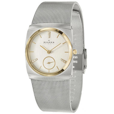 Skagen Women's Mesh Stainless and Yellow Gold Plated Steel Quartz Watch