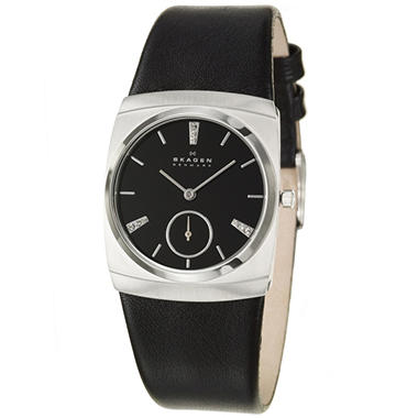 Skagen Women's Modern Stainless Steel and Leather Quartz Watch