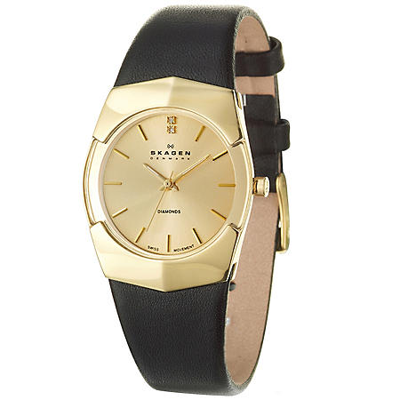 Skagen Women's Swiss Yellow Gold Plated Stainless Steel and Leather Quartz Watch