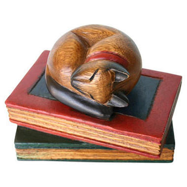 Hand-Painted Carved Wood Cat On Book Paperweight
