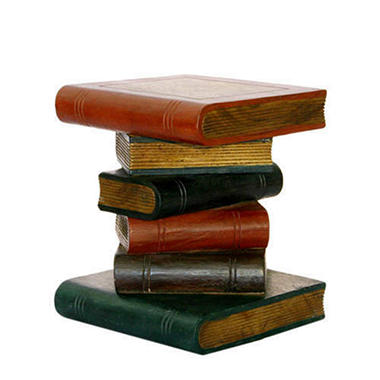Handmade Painted Book Stack Style Wood End Table