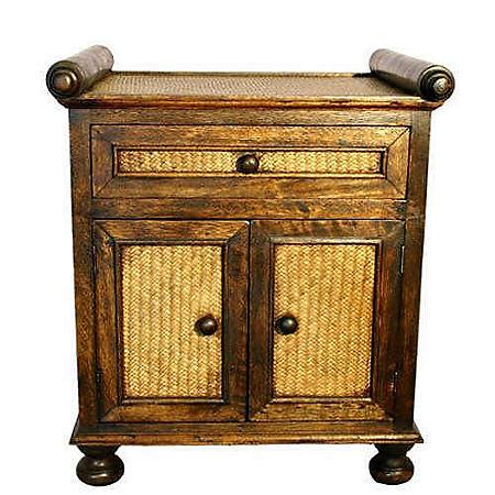 Contemporary Teak Wood & Rattan Storage Cabinet