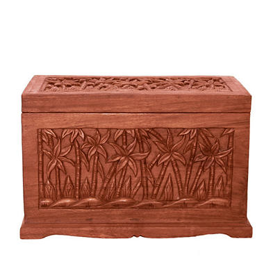 Tropical Palm Tree Design Wood Storage Chest Coffee Table