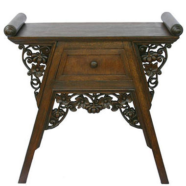 Carved Teak Wood & Rattan End Table - Dark Finish