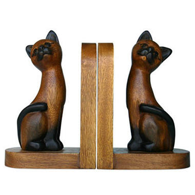 Brown Siamese Cat Carved Wood Bookends - 2 pk.