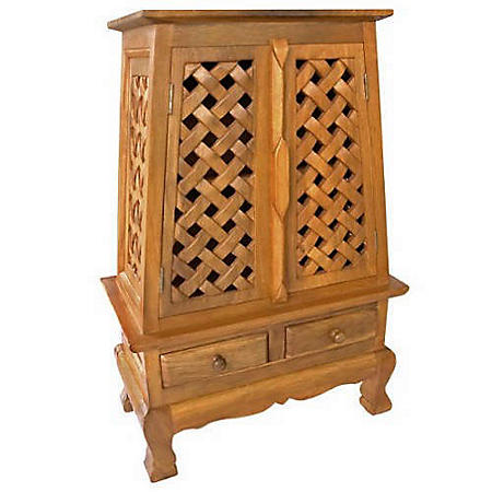 Carved Lattice Storage Cabinet/End Table - Natural