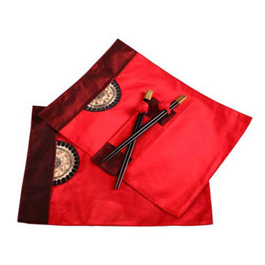 Red/Burgundy Placemats & Chopsticks - 2 pk.