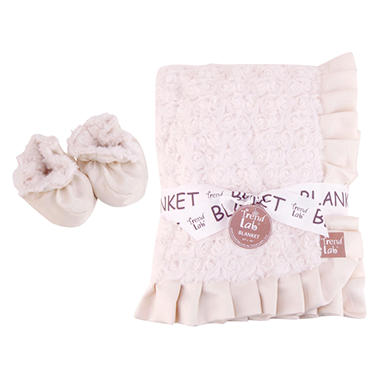 Trend Lab Receiving Blanket and Bootie Set - Cream Rosette