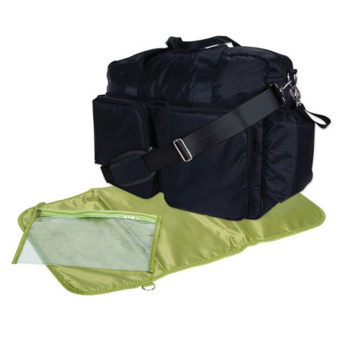 Trend Lab Deluxe Duffle Diaper Bag, Black and Avocado Green
