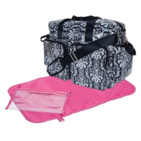 Trend Lab Deluxe Duffle Diaper Bag, Midnight Fleur Damask