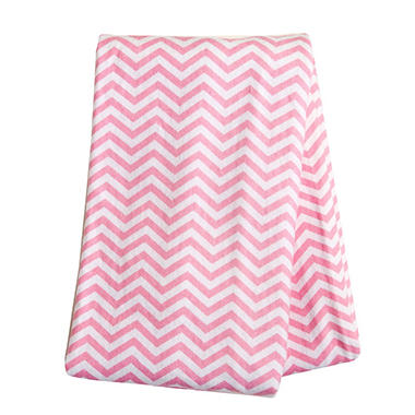 Trend Lab Flannel Swaddle Blanket, Pink White Chevron